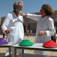 Karin with Walter Demuth celebrating Holi at SKSN
